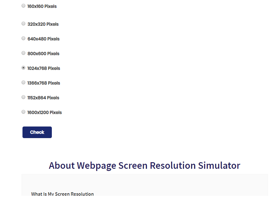 Webpage Screen Resolution Simulator