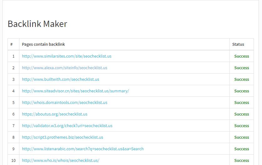 Sample of Backlinks